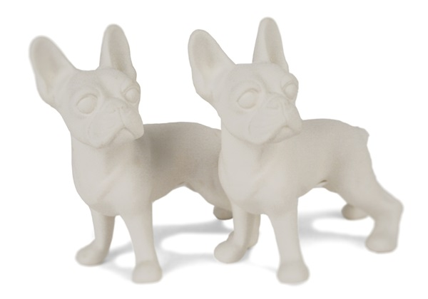 Picture of Boston Terrier Handmade Unpainted Ceramics Mini Unpainted Cruet Set Unglazed