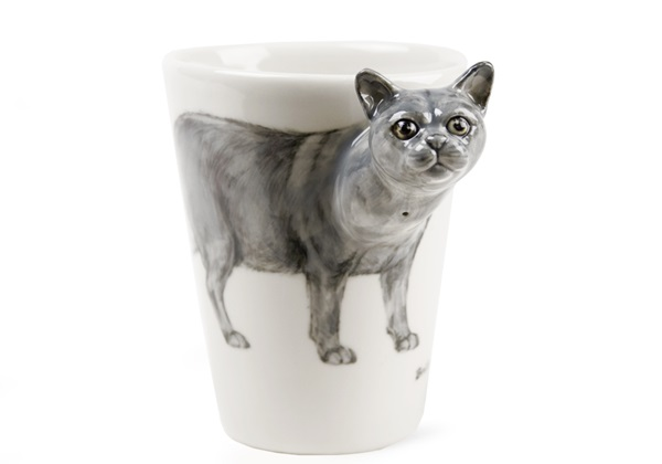 Picture of British Short Hair Handmade 8oz Coffee Mug Blue Grey