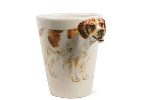 Picture of Brittany Handmade 8oz Coffee Mug Orange and White