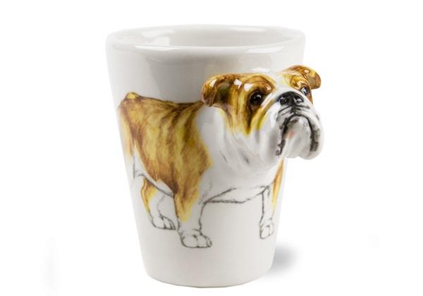 Picture of Bulldog Handmade 8oz Coffee Mug Fawn And White