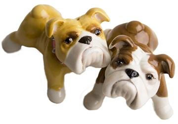 Picture of Bulldog Handmade Mini Cruet Set Fawn and White