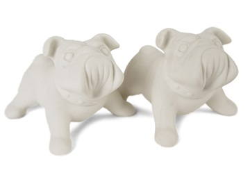 Picture of Bulldog Handmade Unpainted Ceramics Mini Unpainted Cruet Set Unglazed