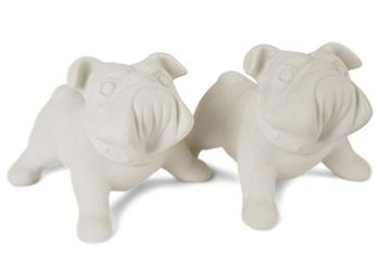 Picture of Bulldog Handmade Unpainted Ceramics Mini Unpainted Cruet Set Unglazed
