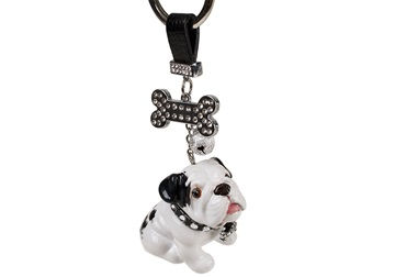 Picture of Bulldog Handmade Mini Key Ring White And Black