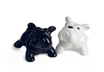 Picture of Bulldog Handmade Ceramic Small Cruet Set Black and White