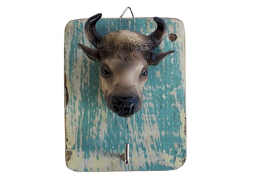 Picture of Bull Handmade Rustic Single Wall Hook Bull Tan