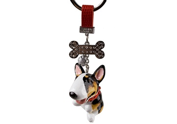 Picture of Bull Terrier Handmade Mini Key Ring Tricolor