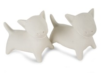 Picture of Bull Terrier Handmade Unpainted Ceramics Mini Unpainted Cruet Set Unglazed
