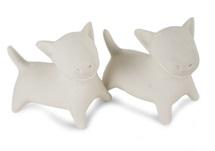 Picture of Bull Terrier Handmade Unpainted Ceramics Mini Unpainted Cruet Set Unglazed
