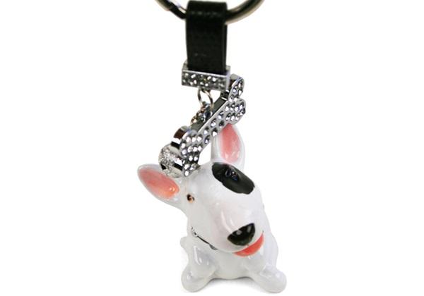 Picture of Bull Terrier Handmade Mini Key Ring White