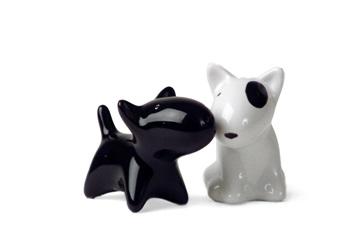 Picture of Bull Terrier Handmade Ceramic Small Cruet Set Black and White