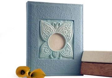Picture of Butterfly Handmade 4 Hole A4 Ring Binder Blue