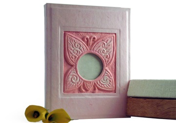 Picture of Butterfly Handmade 4 Hole A4 Ring Binder Pink