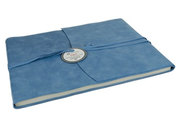Picture of Capri Handmade Italian Leather Wrap Extra Large Guest Book Blue