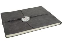 Picture of Capri Handmade Italian Leather Wrap Extra Large Guest Book Charcoal