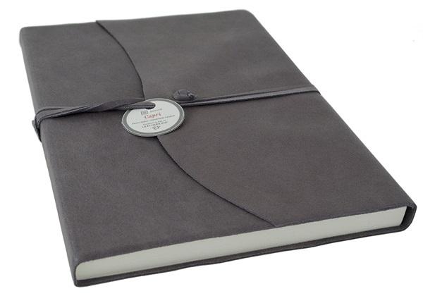 Picture of Capri Handmade Italian Leather Wrap A4 Journal Charcoal Plain