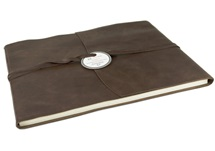 Picture of Capri Handmade Italian Leather Wrap Extra Large Guest Book Chocolate