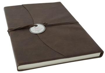 Picture of Capri Handmade Italian Leather Wrap A4 Journal Chocolate Plain