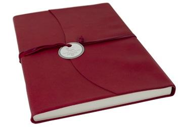 Picture of Capri Handmade Italian Leather Wrap A4 Journal Firebrick Plain