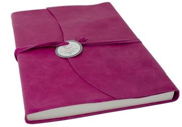 Picture of Capri Handmade Italian Leather Wrap A4 Journal Fuchsia Plain