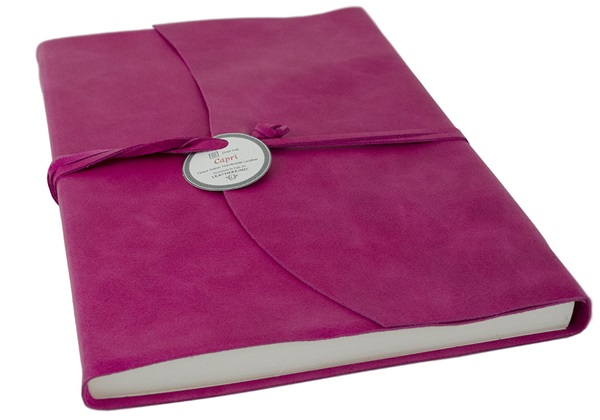 Picture of Capri Handmade Italian Leather Wrap A4 Journal Fuchsia Plain