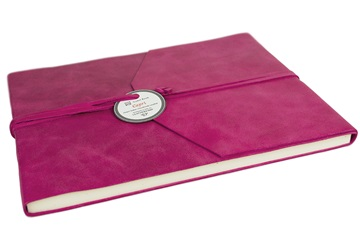 Picture of Capri Handmade Italian Leather Wrap Extra Large Guest Book Raspberry