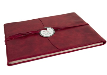 Picture of Capri Handmade Italian Leather Wrap Extra Large Guest Book Red