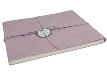 Picture of Capri Handmade Italian Leather Wrap Extra Large Guest Book Salmon