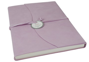 Picture of Capri Handmade Italian Leather Wrap A4 Journal Salmon Plain