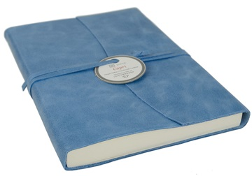 Picture of Capri Handmade Italian Leather Wrap A5 Journal Aeroblue Plain