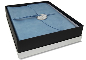 Picture of Capri Handmade Italian Leather Wrap Large Photo Album Aeroblue