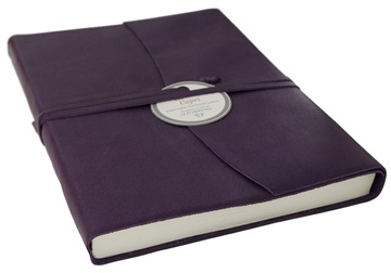 Picture of Capri Handmade Italian Leather Wrap A5 Journal Aubergine Plain