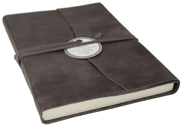 Picture of Capri Handmade Italian Leather Wrap A5 Journal Charcoal Plain