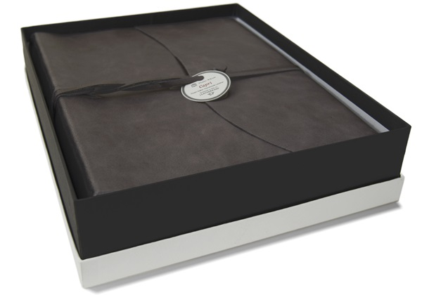 Picture of Capri Handmade Italian Leather Wrap Large Photo Album Charcoal