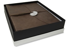 Picture of Capri Handmade Italian Leather Wrap Large Photo Album Chocolate