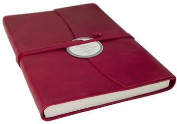 Picture of Capri Handmade Italian Leather Wrap A5 Journal Firebrick Plain