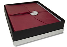 Picture of Capri Handmade Italian Leather Wrap Large Photo Album Firebrick