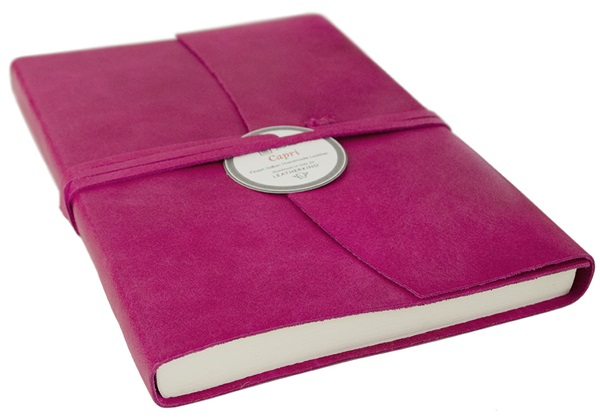 Picture of Capri Handmade Italian Leather Wrap A5 Journal Fuchsia Plain