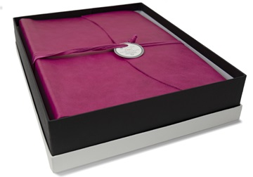 Picture of Capri Handmade Italian Leather Wrap Large Photo Album Fuchsia