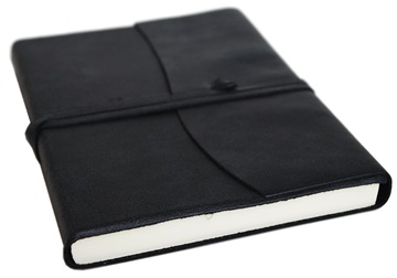 Picture of Capri Handmade Italian Leather Wrap A5 Journal Obsidian lined