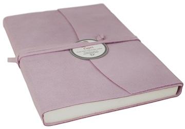 Picture of Capri Handmade Italian Leather Wrap A5 Journal Salmon Plain