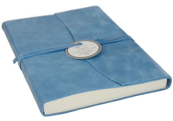 Picture of Capri Handmade Italian Leather Wrap A6 Journal Aeroblue Plain