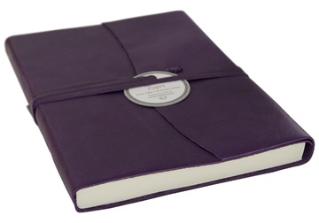 Picture of Capri Handmade Italian Leather Wrap A6 Journal Aubergine Plain