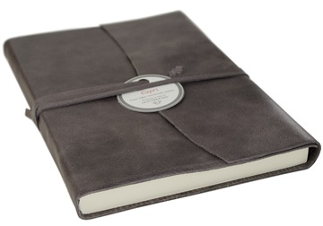 Picture of Capri Handmade Italian Leather Wrap A6 Journal Charcoal Plain