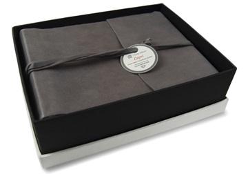 Picture of Capri Handmade Italian Leather Wrap Small Photo Album Charcoal