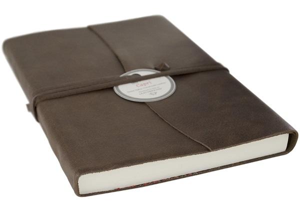 Picture of Capri Handmade Italian Leather Wrap A6 Journal Chocolate Plain