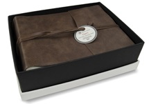 Picture of Capri Handmade Italian Leather Wrap Small Photo Album Chocolate