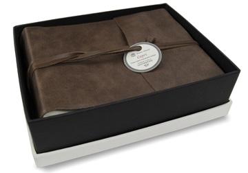 Picture of Capri Handmade Italian Leather Wrap Small Photo Album Chocolate