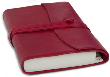 Picture of Capri Handmade Italian Leather Wrap Small Address Book Firebrick