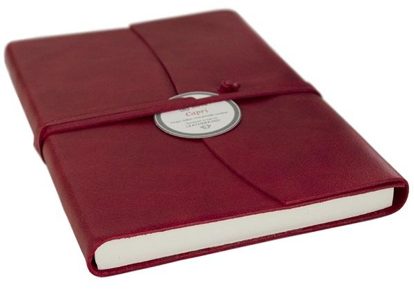 Picture of Capri Handmade Italian Leather Wrap A6 Journal Firebrick Plain